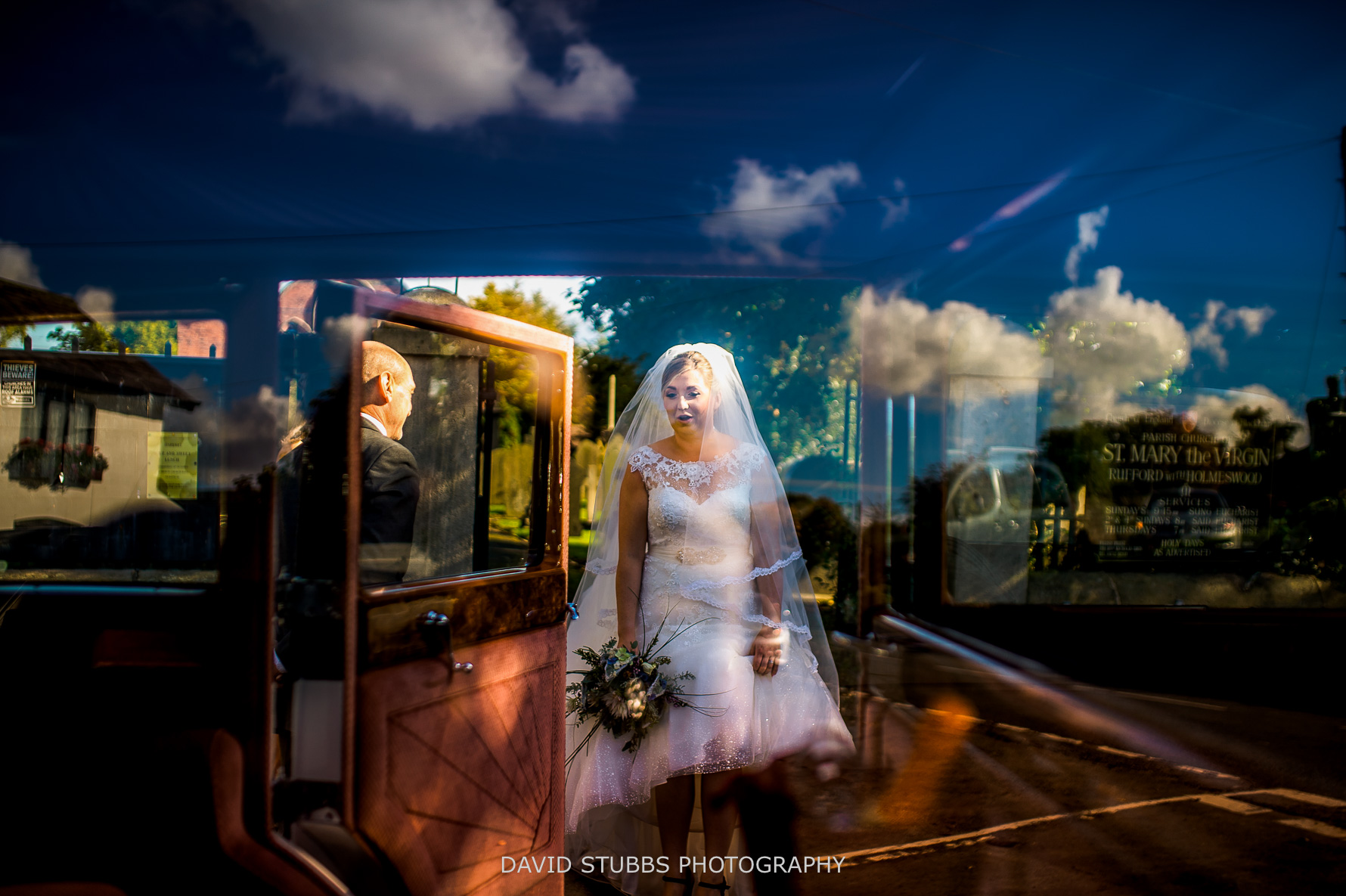 superb through car shot wedding