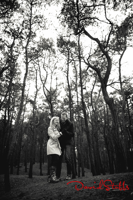 in the woods before their wedding