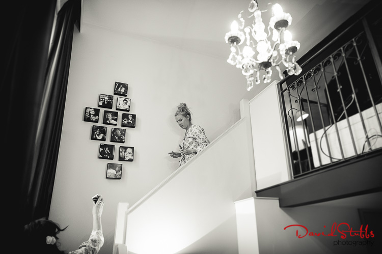 bride walking down the stairs photography manchester