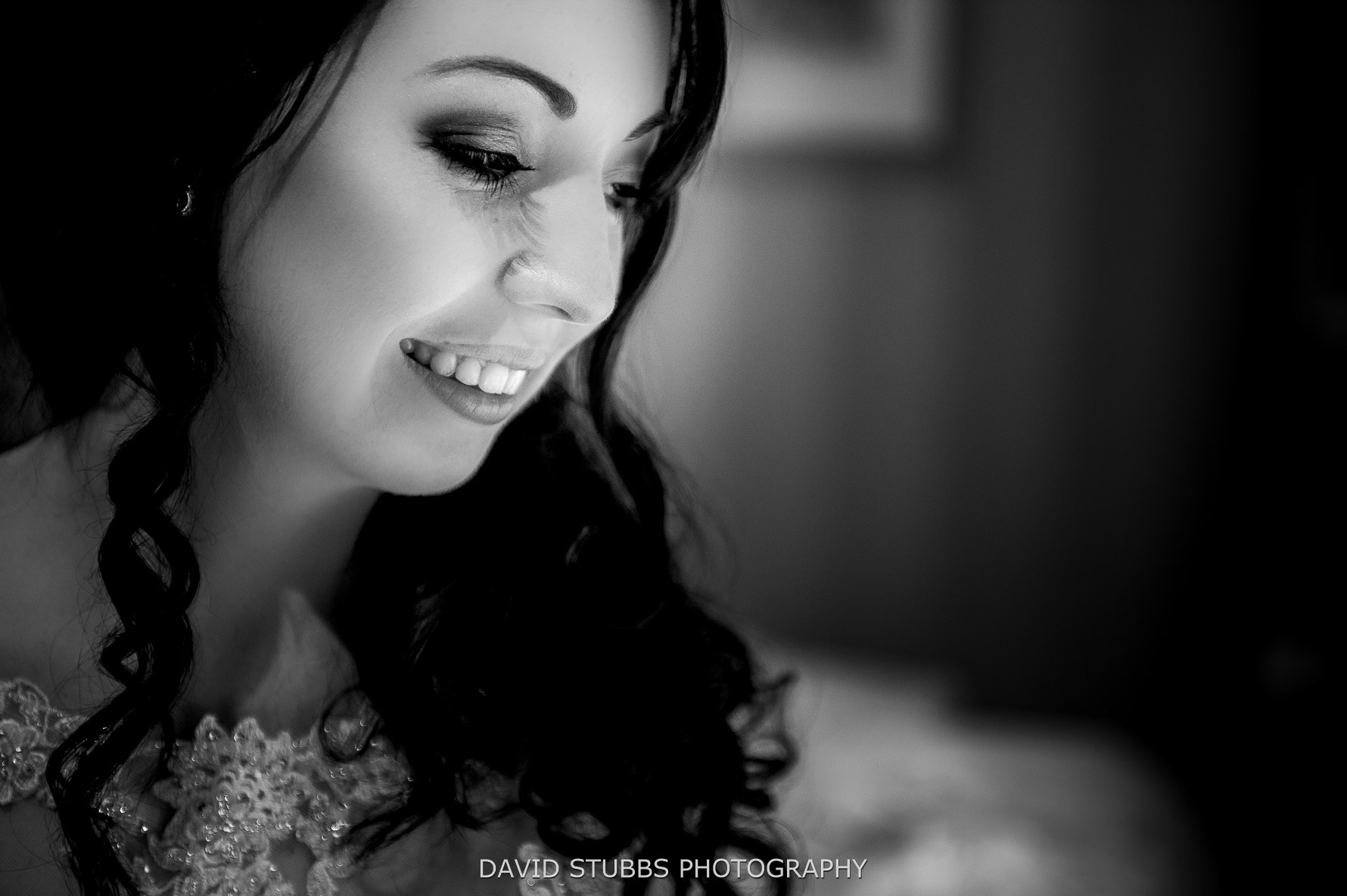 close up black and white of bride