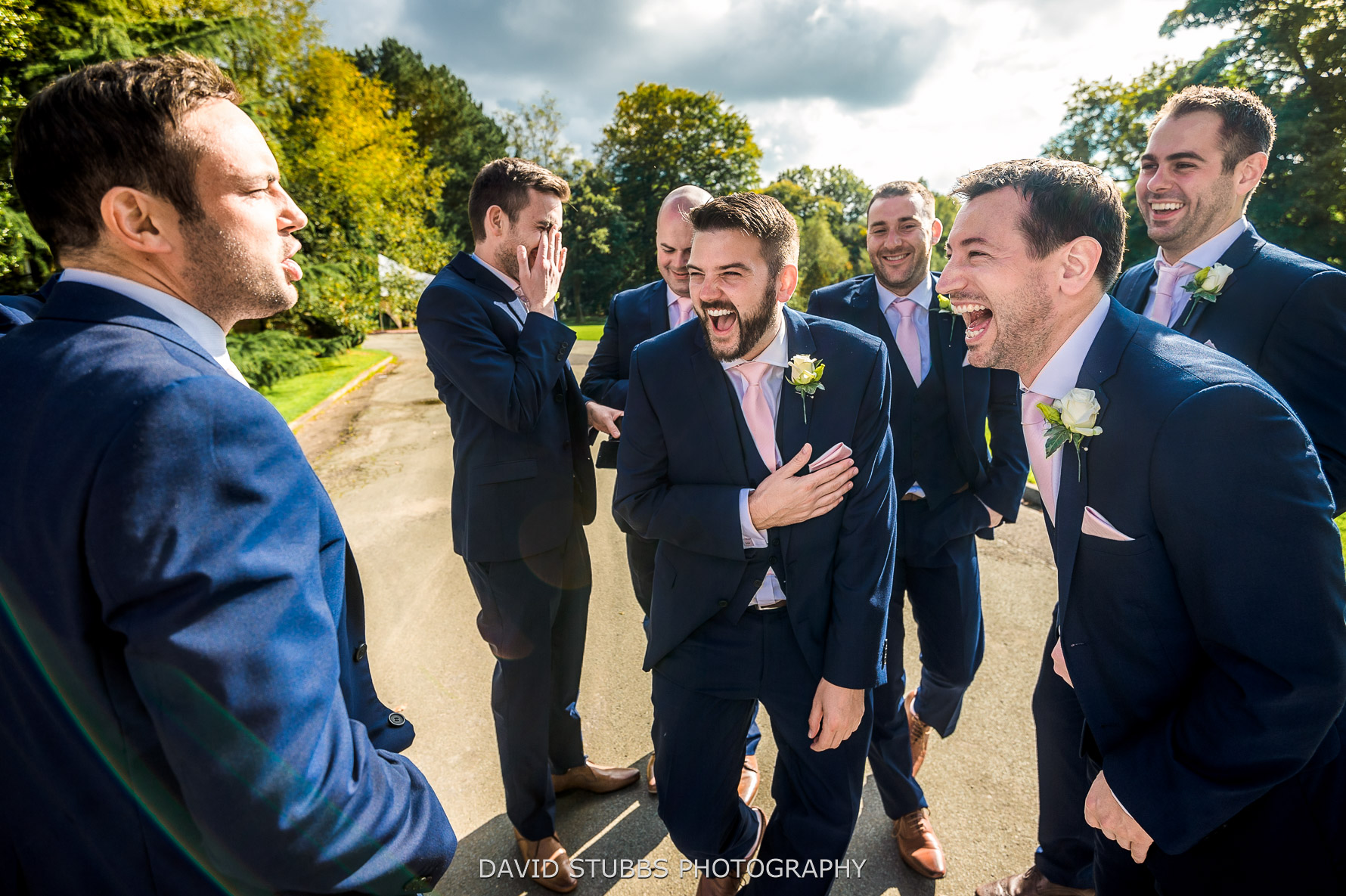 groomsmen playing games