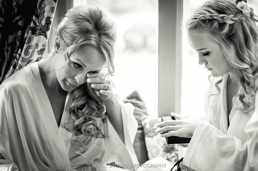 woman wiping tear