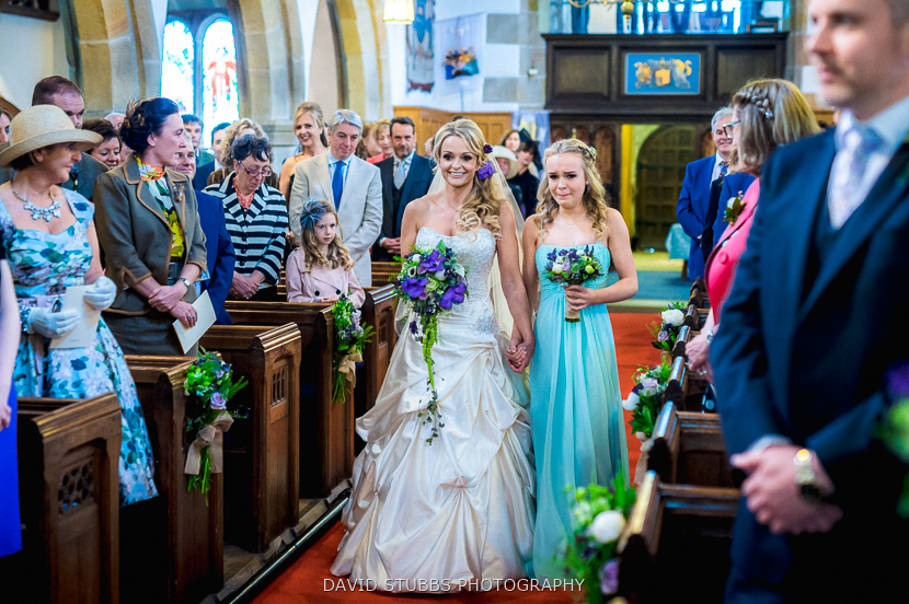 bride and daughter up aisle