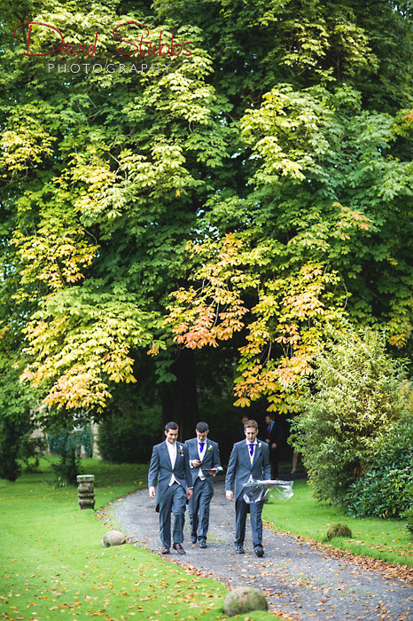 groom arriving with trees