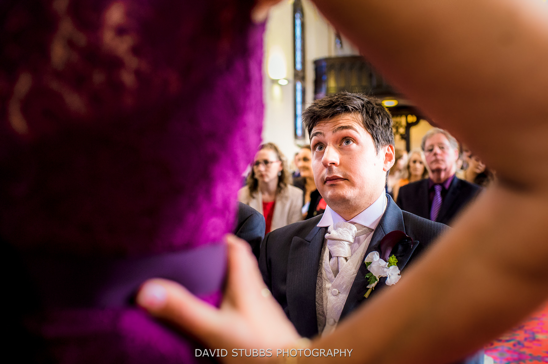 groom looking at MOB