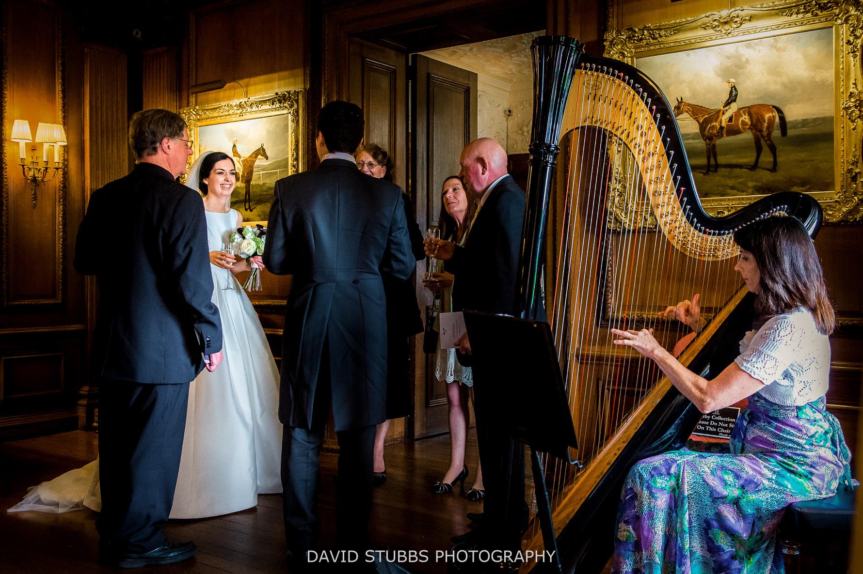 harpist playing reception
