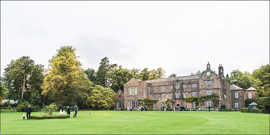 wide photo of Browsholme hall on wedding day