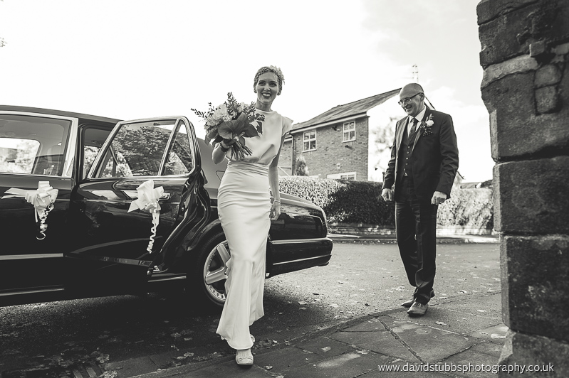 getting out the car with vintage dress