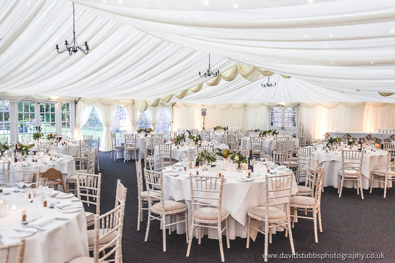 wedding breakfast room set-up at hilltop in cheshire