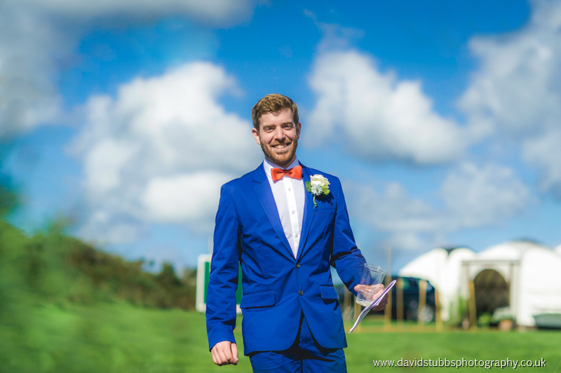 groom arriving at the wedding