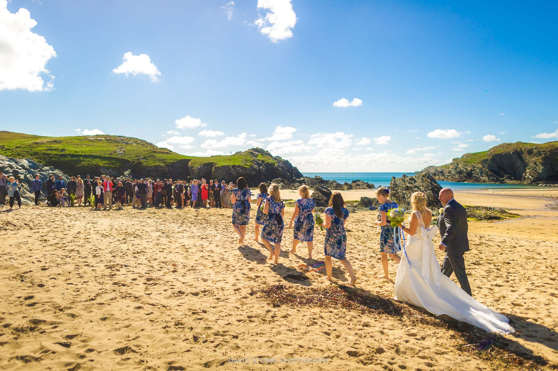 photo from behind as bridal party walking along the beach