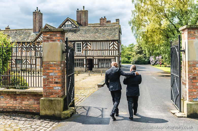waling with best man towards cheshire hall