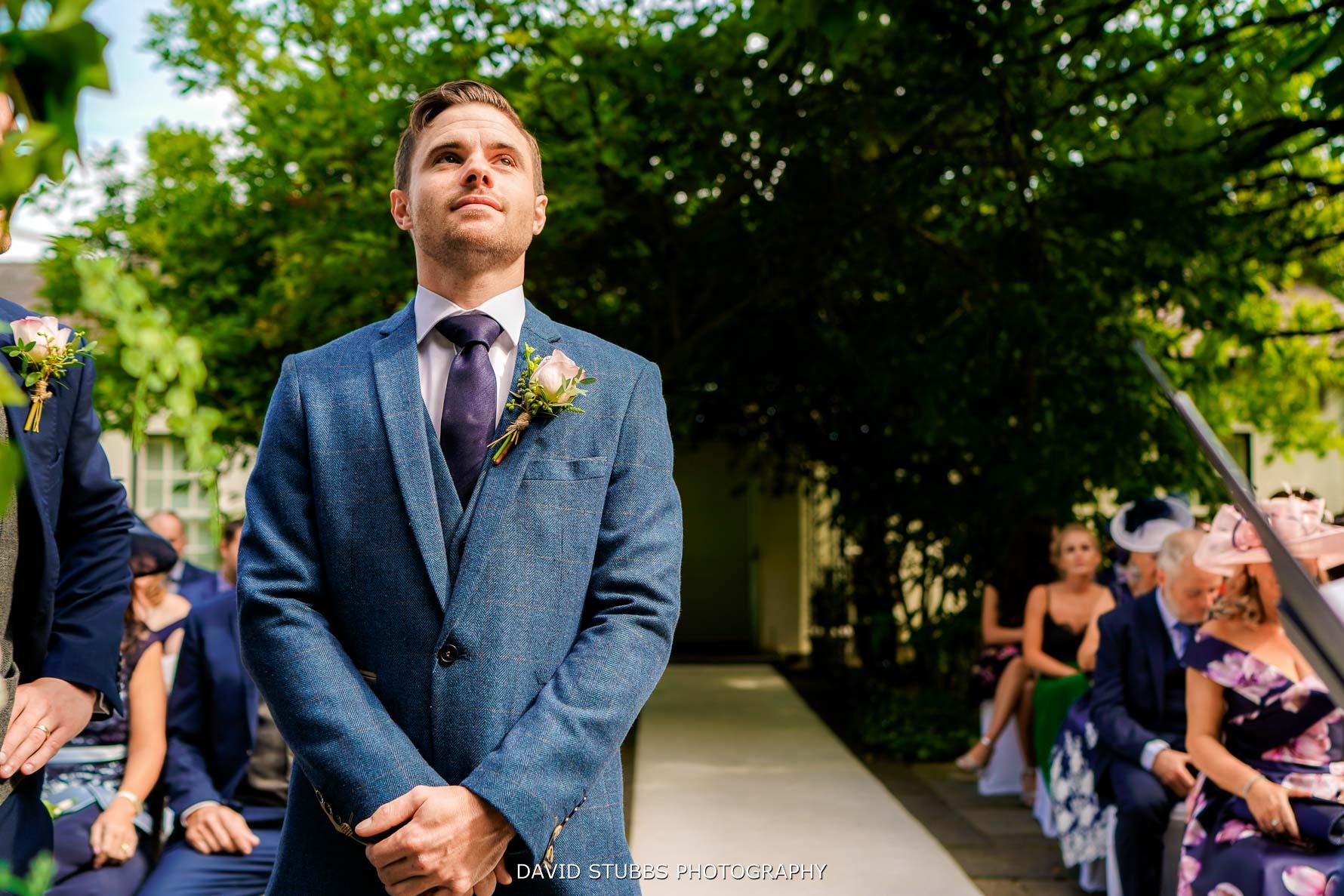 groom wedding at statham lodge