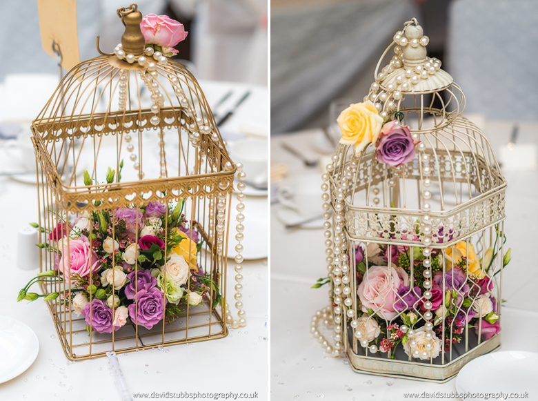 bird cage details at wedding