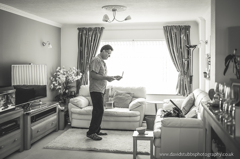 dad practicing his speach in the lounge