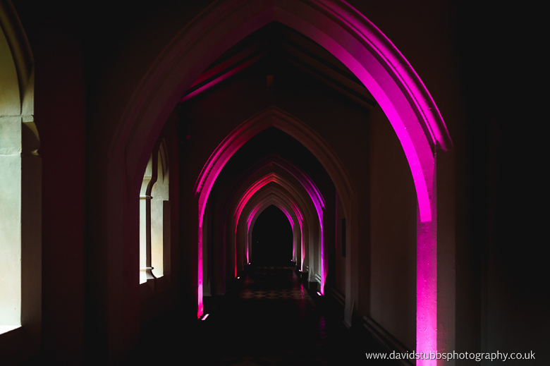 purple lit halls of monastery
