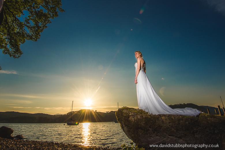 stunnign bride over windermere
