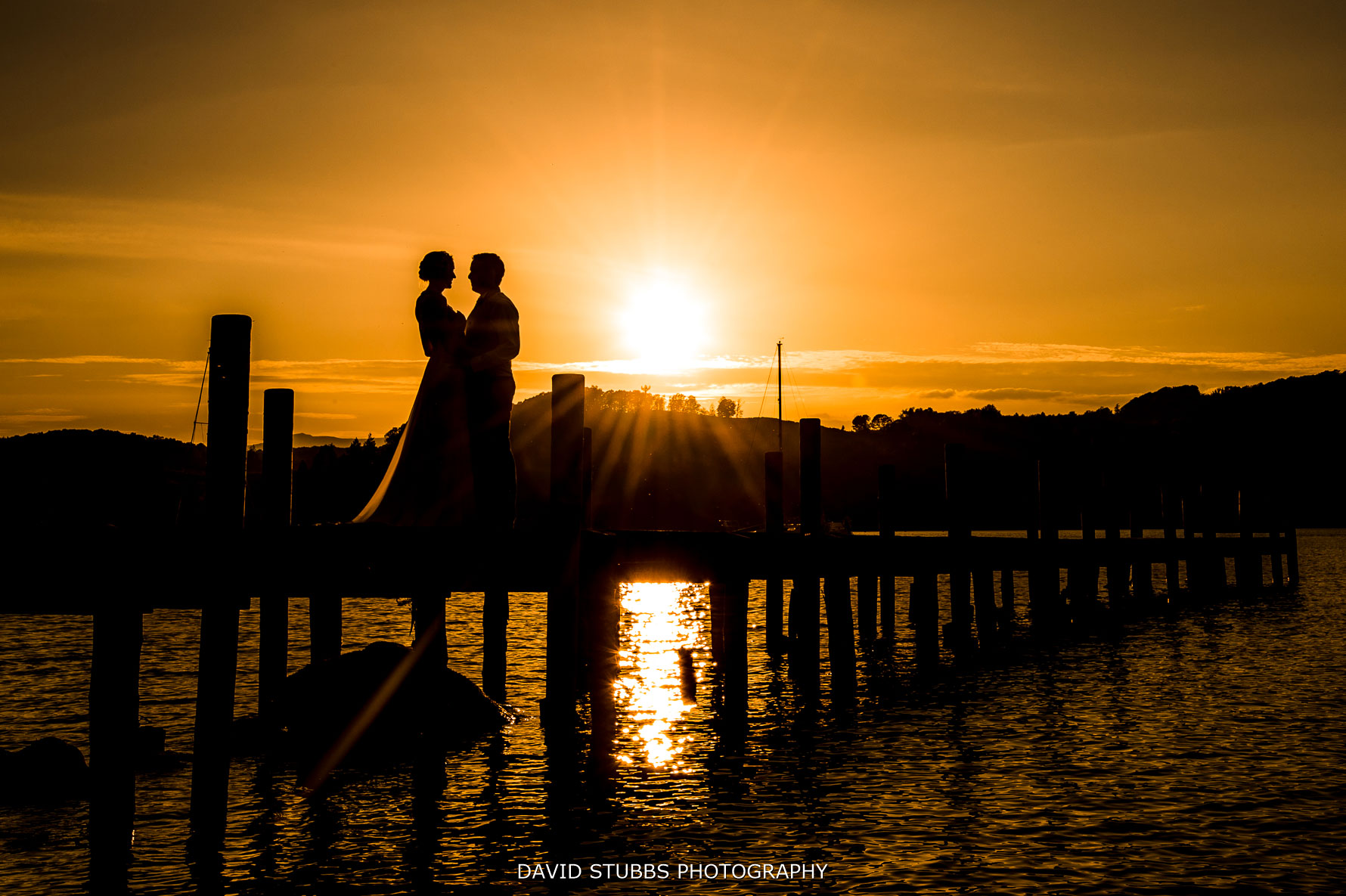 sunset wedding on windermere