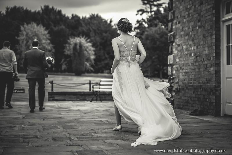 wedding dress blowing int he wind