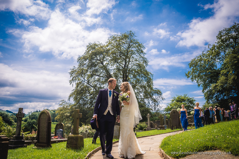 bride and groom in the grounds colour