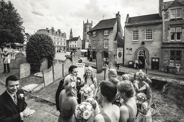 black and white bridal party in stamford town centre