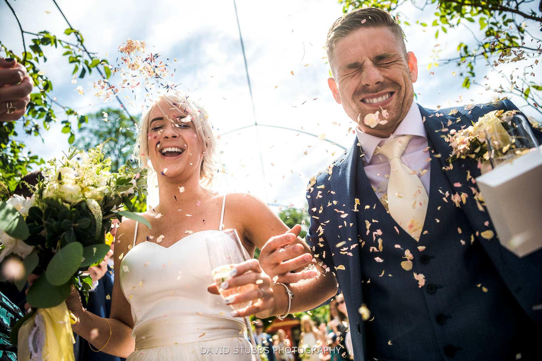 confetti in the face for a Stamford wedding