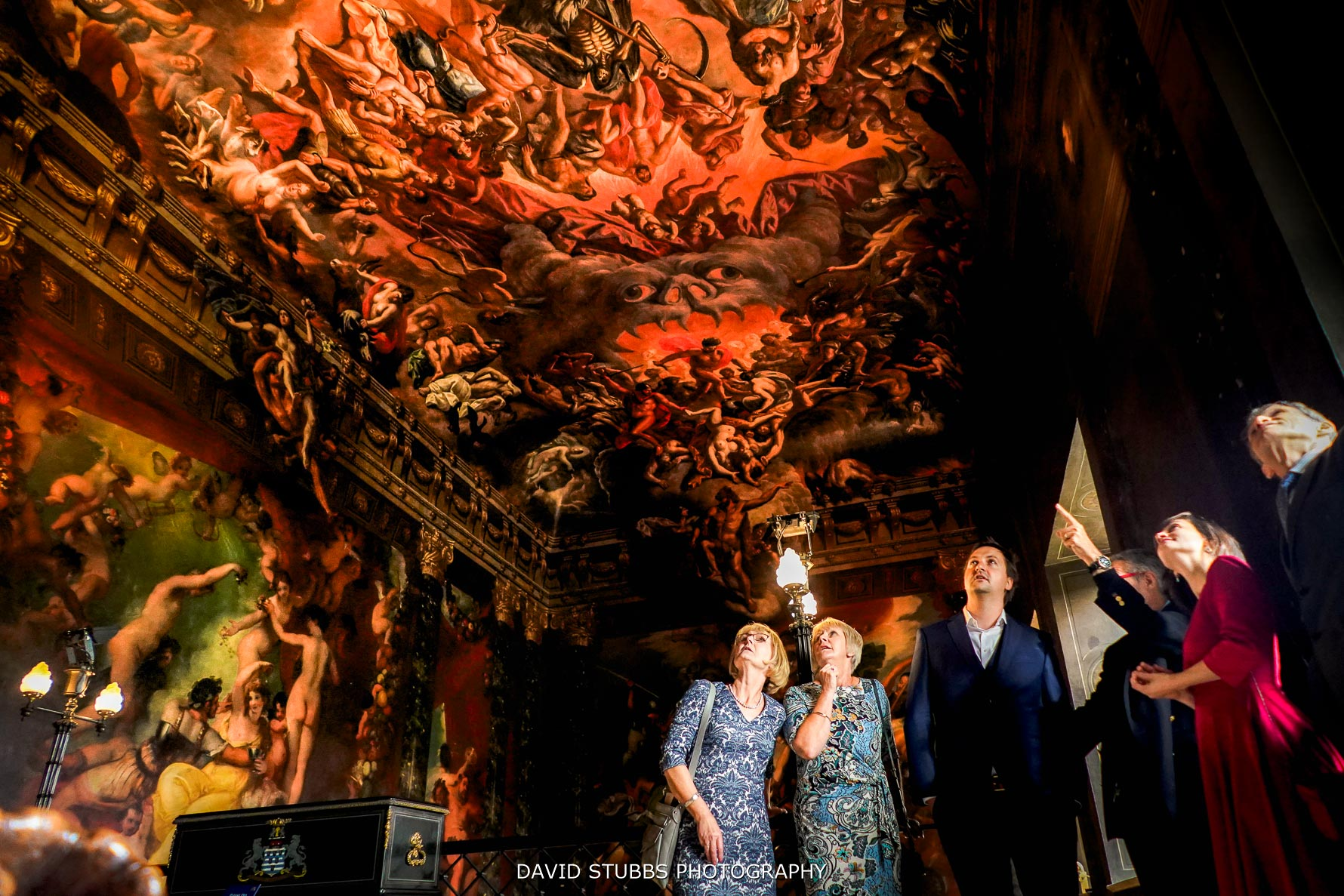 hell's ceiling at Burghley house with wedding guests