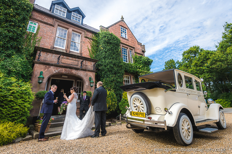 couple arrive at reception