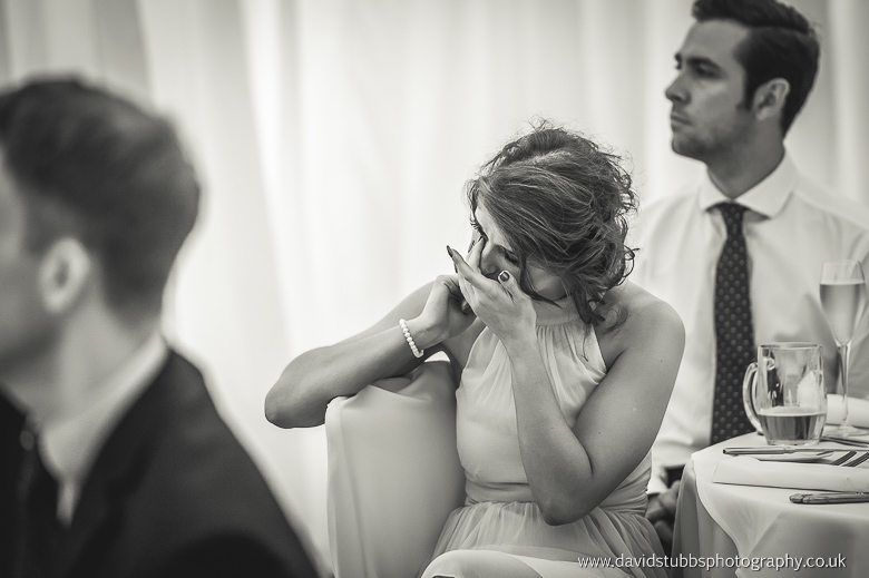 woman watching best man speech