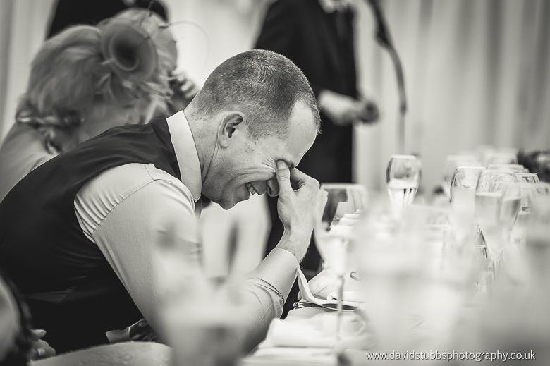 groom reacting to speeches