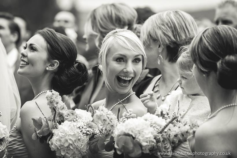 bridesmaids after wedding ceremony