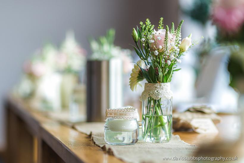 plants on wedding table