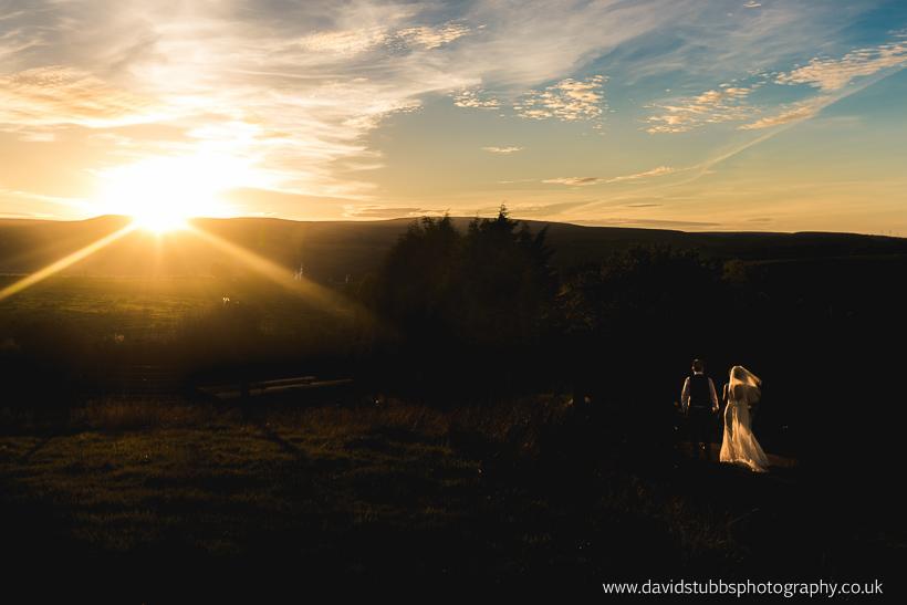 sun setting over lancashire wedding