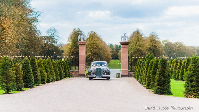 husband and wife arriving at knowsley hall in car
