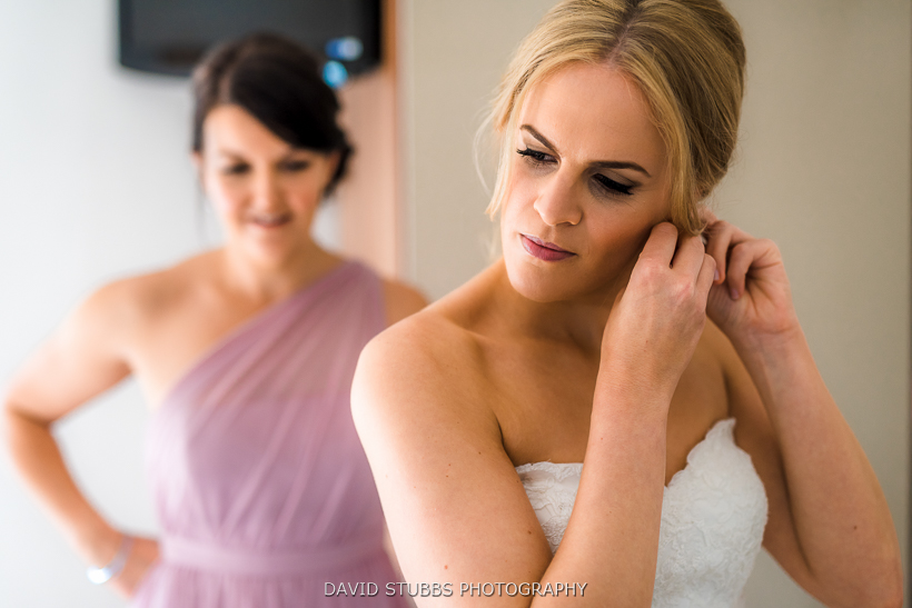 colour photo of bride and bridesmaid