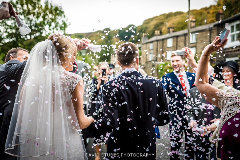 woman and husband in confetti