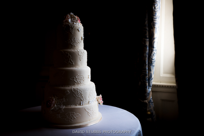 wedding cake by window