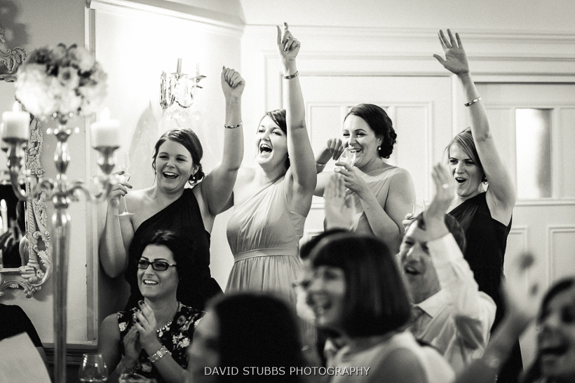 bridesmaids celebrating black and white