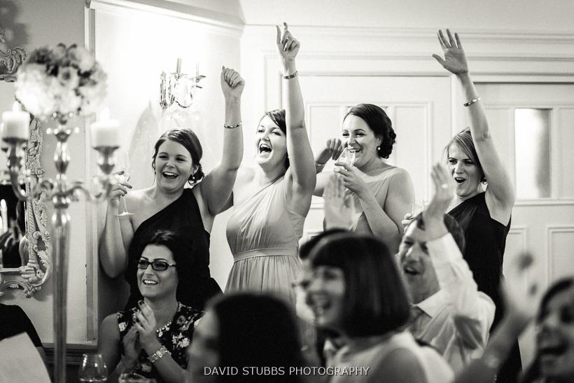 bridesmaids celebrating black and white