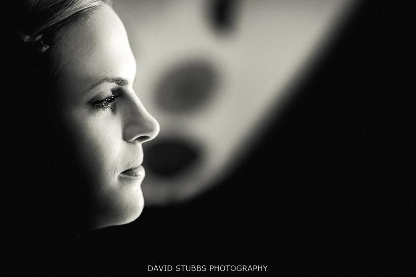 black and white profile of bride