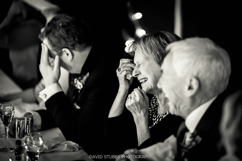 wedding guests laughter at speeches