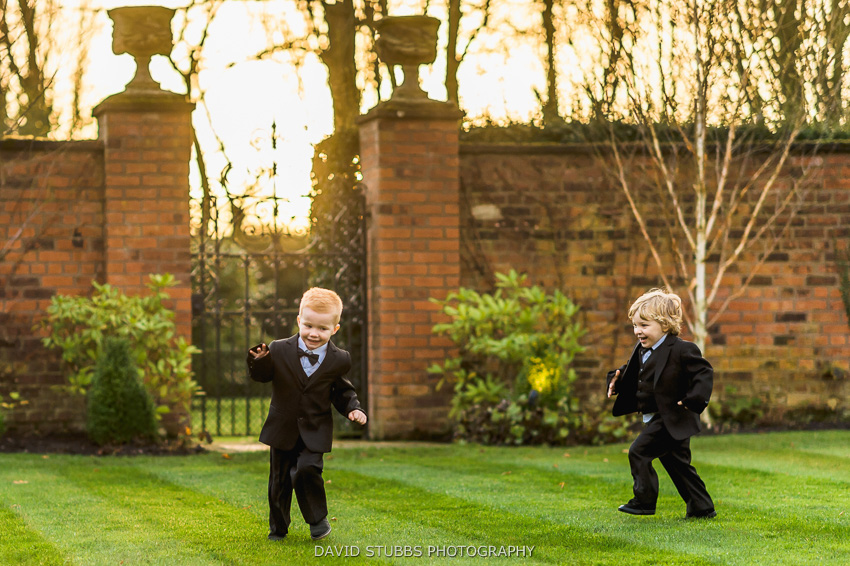 little boys playing on lawn