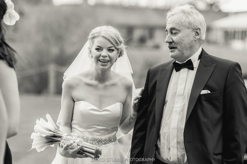 bride and father black and white photo