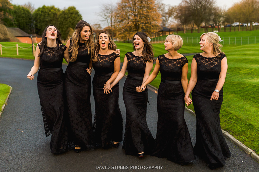 bridesmaids celebrate at wedding