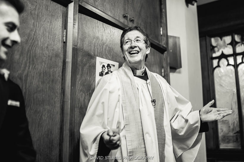 vicar laughing after service