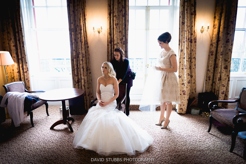 colour photo of bridal party preperation