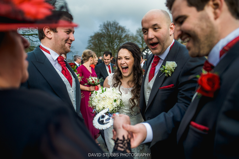 bride and groom celebrating