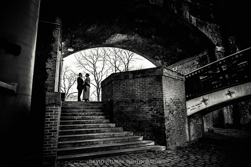 black and white photo of couple at castlefield