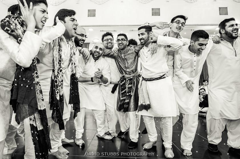 lads celebrating black and white