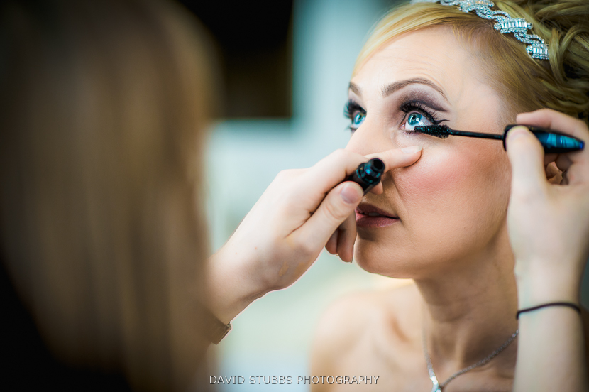 woman having make up done